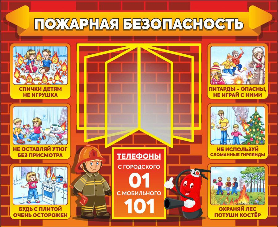 Информационный стенд пожарной безопасности с перекидной системой